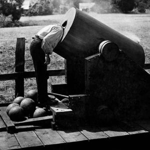 1927: Buster Keaton as railroad engineer Johnny Gray placing his head inside a lighted cannon in the 1927 silent film The General.
